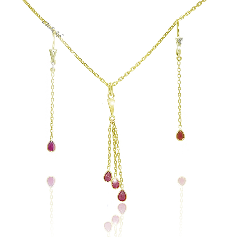 ensemble or jaune rubis collier boucles